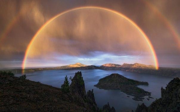 Вчерашняя двойная радуга в штате Орегон, США