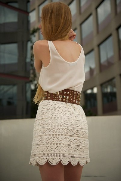 Стильная юбка крючком (6 фото) - картинка