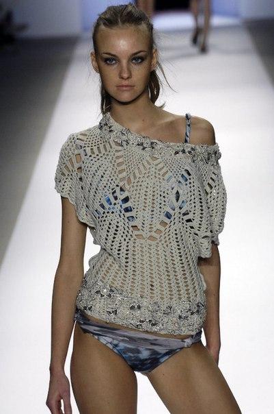 Стильный ажурный пуловер, вязанный крючком…. (6 фото) - картинка