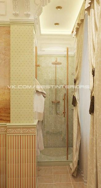 Классическая ванная комната с душевой, выполненная в бежево — коричневых и пастельных, свело — оливк… (5 фото) - картинка