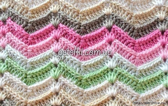 Delicadezas en crochet Gabriela: Patrón de punto zig zag varios tonos