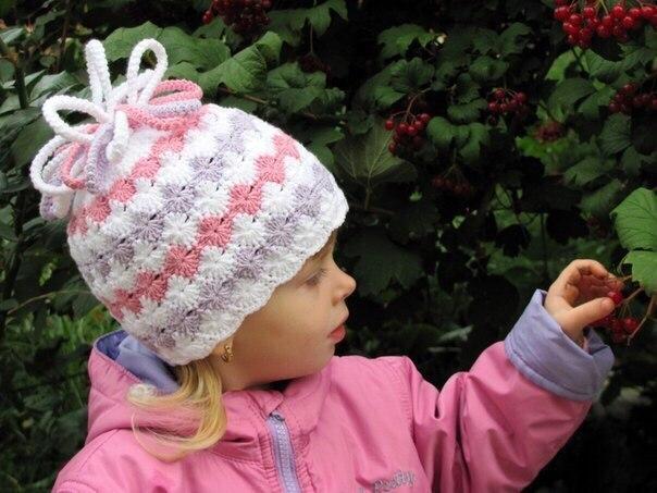 Шапочка детская с помпоном из шнура-гусеницы… (3 фото) - картинка