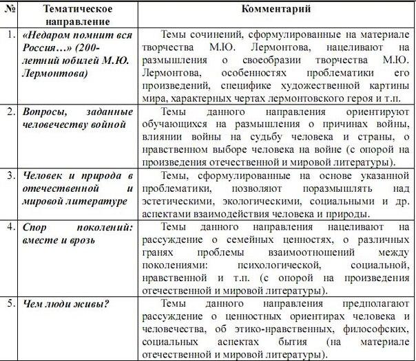 образцы сочинений по литературе 2016 по направлениям