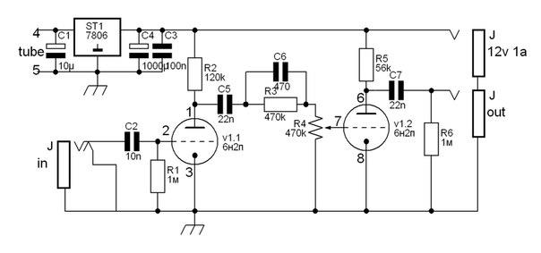Схема лампового overdrive