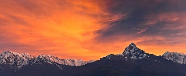 Никита Сердечный, автор фото: «Пик справа — величайшая вершина мира — Мачапучаре (6997 м). Это одна из немногих вершин, которая не была покорена человеком. По легенде, на ней живет бог Шива. В переводе с непальского Мачапучаре — «Рыбий хвост». Но со стороны Покхары она имеет немного другую форму».