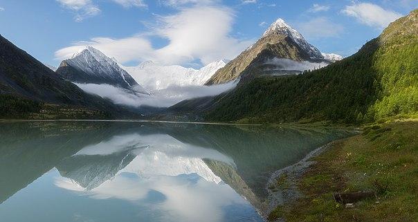 Аккемское озеро. Вдалеке — гора Белуха. Автор фото — Павел Ткаченко: nat-geo.ru/photo/user/44955/