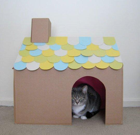 Домики для кошек из картонных коробок Подслушано Лайфхак - #4899