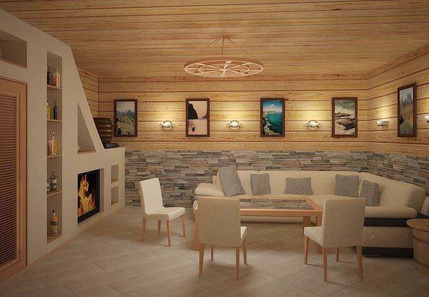 Гостиная в деревянном доме (1 фото) - картинка