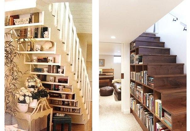 Лестница вместо книжного шкафа (1 фото) - картинка