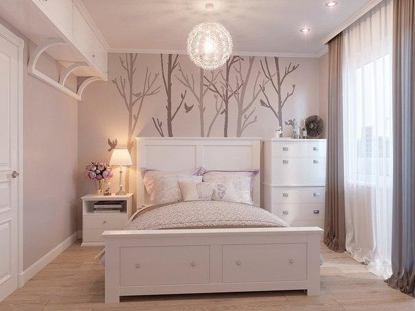 Спальня в нежных тонах. (3 фото) - картинка