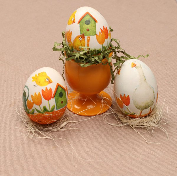 Декупаж пасхальных яиц (1 фото) - картинка