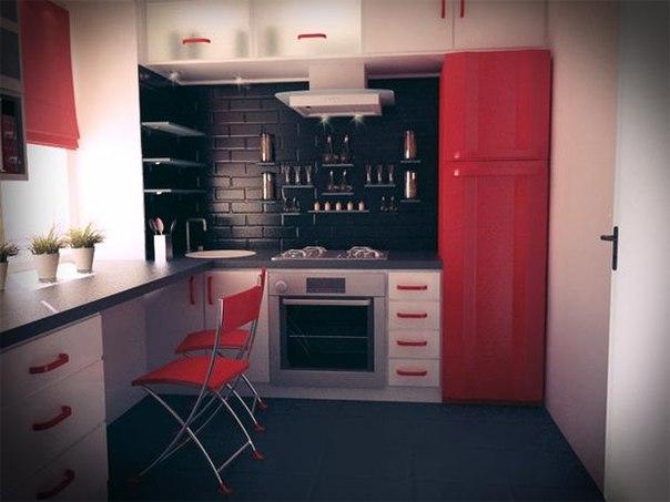 На маленькой кухне площадью всего 5 кв. м можно поместить все необходимое, а ее интерьер оформить ст… (1 фото) - картинка
