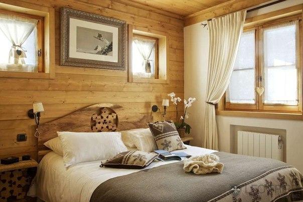 Спальня в деревянном доме: идеи (7 фото) - картинка