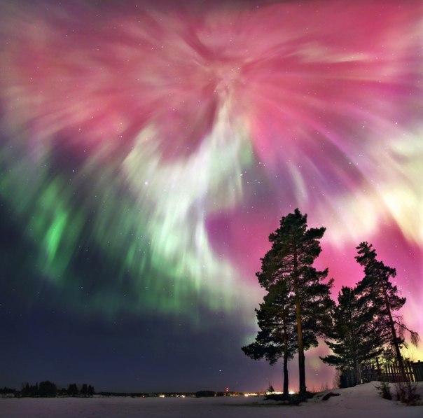 «Небесное шапито». Полярное сияние на Северном Урале 17 марта 2015 года. Автор фото — Сергей Макурин: Доброй ночи!