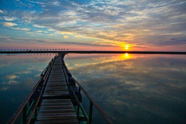 Рассвет на озере Алаколь, Казахстан. Автор фото — Алексей Саламатов