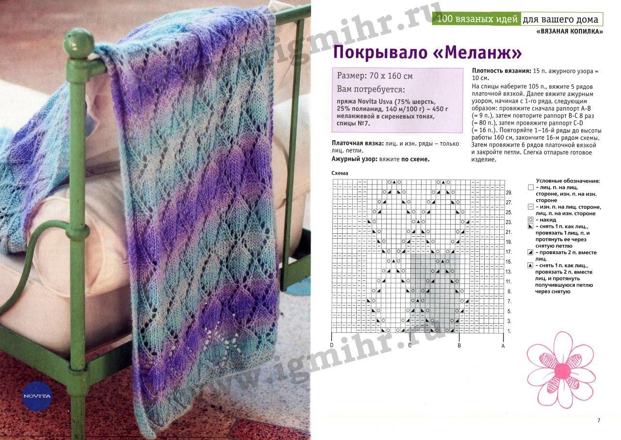 Пледы для новорожденных спицами схемы и описание фото