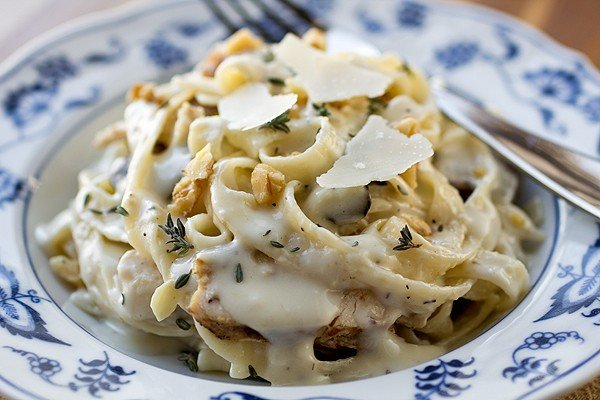 Спагетти со сливочно-грибным соусом (1 фото) - картинка