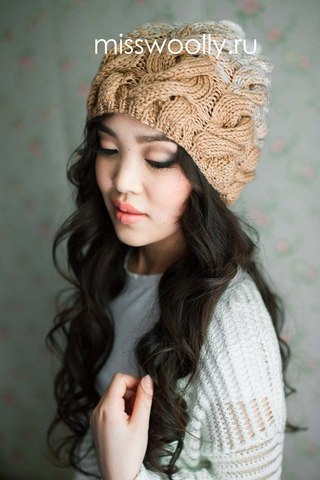 шапка градиентом с косами