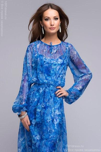 Фото платья с длинным рукавом синего цвета
