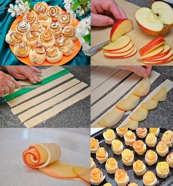 Розочки из теста с яблоками. Идея.