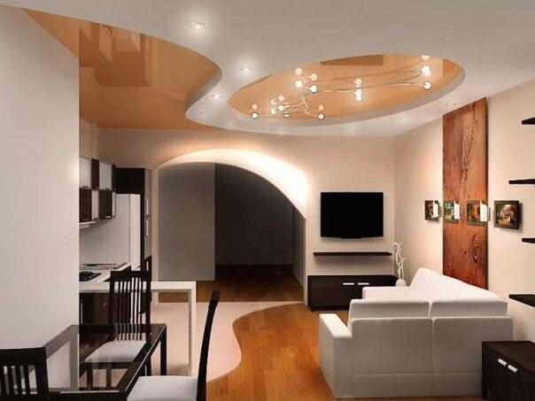 Интерьер студии гостиная и кухня (1 фото)