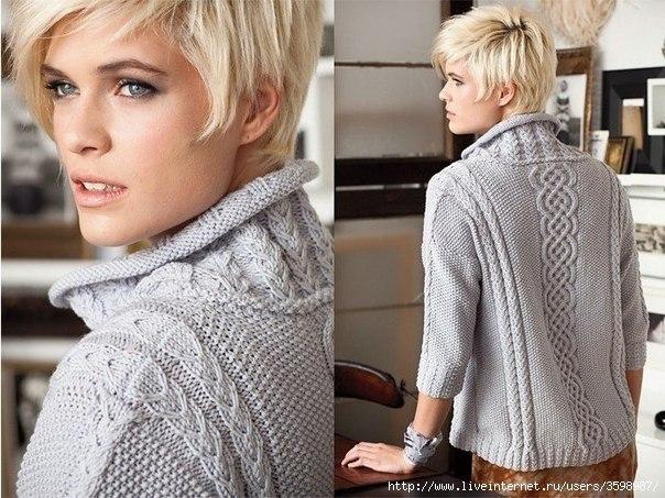 Свободный пуловер с рукавами 3/4.