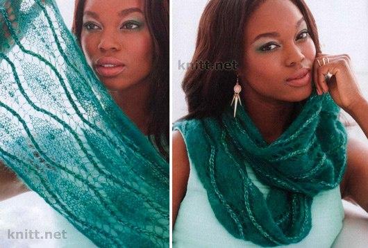Нежный и ажурный шарф-снуд выполнен из пряжи двух видов, что подчеркивает тонкость и нежность шарфик… (2 фото) - картинка