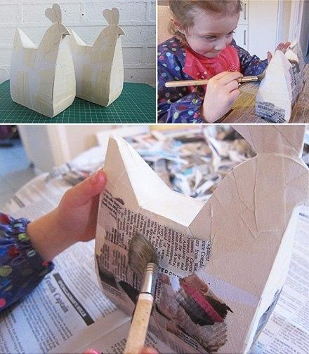 Как сделать поделку из картона и клея