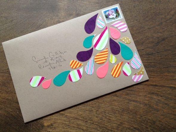 Как украсить конверт на день рождения своими руками