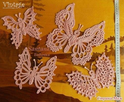 Delicadezas en crochet Gabriela: Apliques diseño mariposa estilo vintage