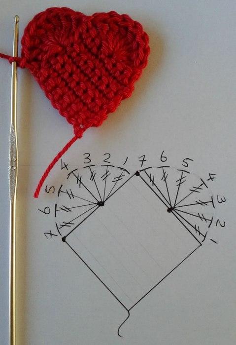 Объёмное сердечко связанное крючком