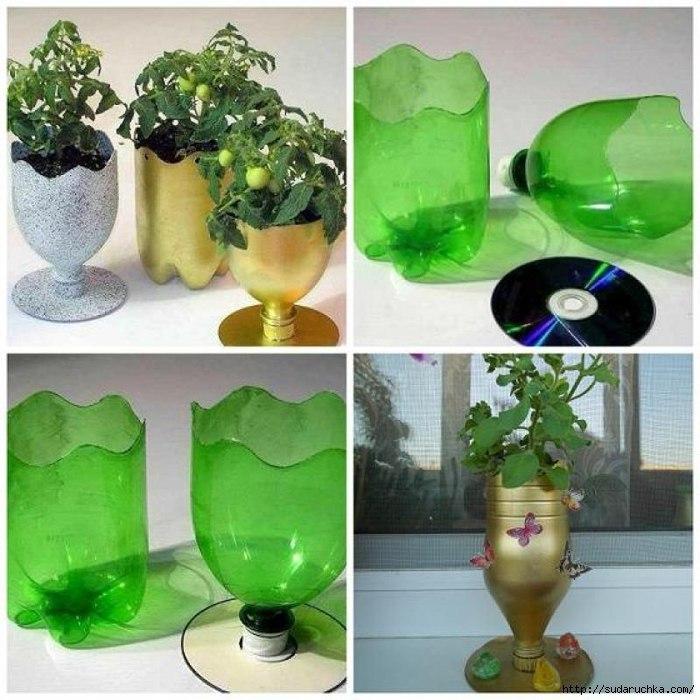Украшение пластиковыми бутылками своими руками