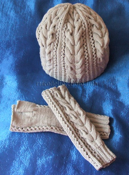 Стильная шапочка и митенки Ажурная осень , вязанные спицами…. (6 фото)