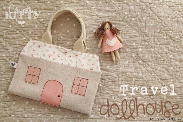 Сумка-домик для куклы. Идея для вдохновения…. (9 фото)