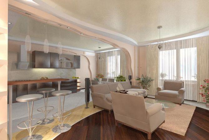 Гостиная совмещенная с кухней дизайн потолка