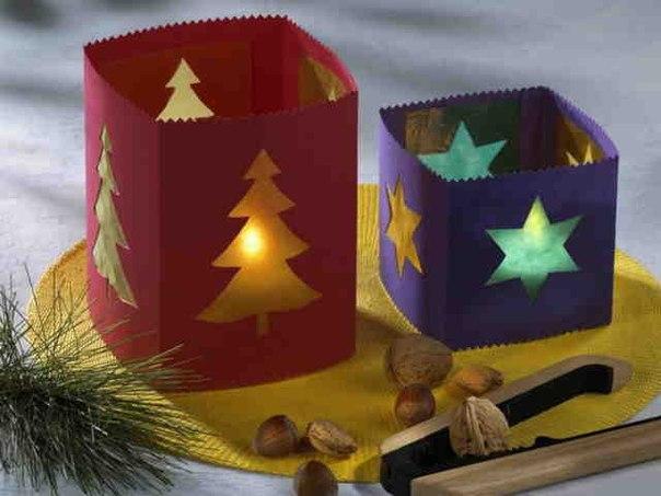 Новогодние подсвечники из стеклянных банок.