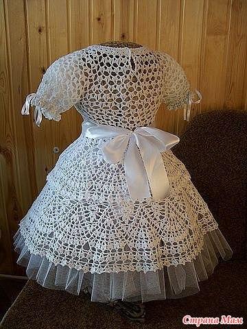 Как связать платье снежинку крючком