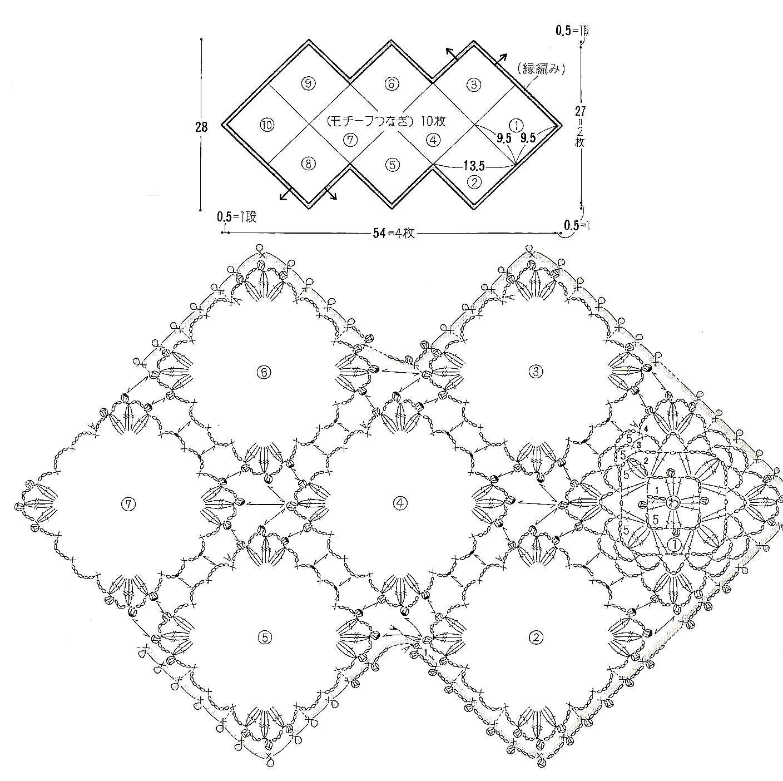 Салфетки из мотивов крючком со схемами простые и красивые