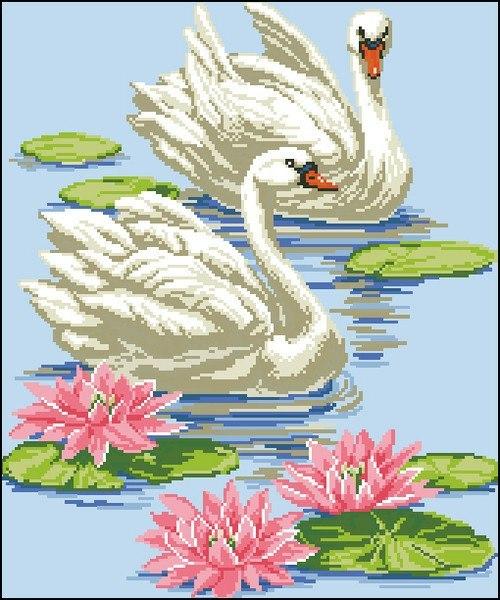 Вышивка крестиком. Лебеди