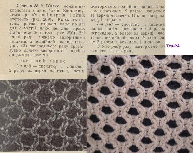 Вязание спицами сетка схема