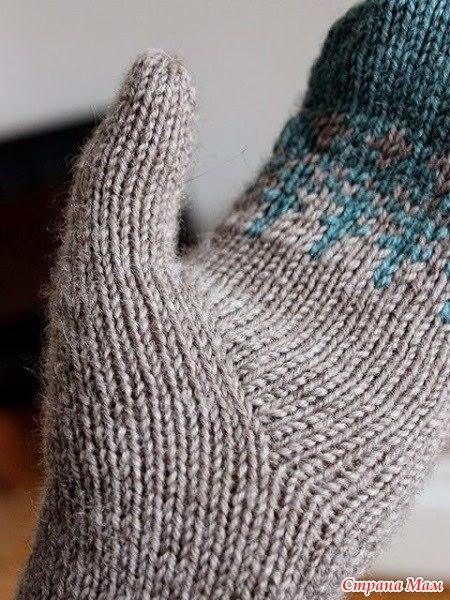 Как связать клин пальца варежки