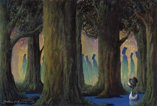 Toshio Ebine - художник из Японии. Его фантастически работы написаны акварелью на холсте. Смотришь на эти волшебные картинки - и вспоминаешь свои сны....