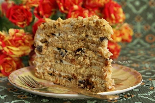 Торт с черносливом и орехами рецепт с фото