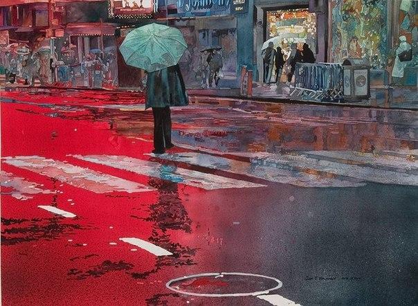 Городские пейзажи написанные акварельными красками от художника Джон Салминен (John T. Salminen)