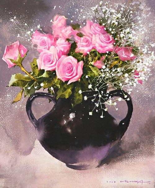 Акварельная нежность цветов на картинах корейского художника Namtaeksu