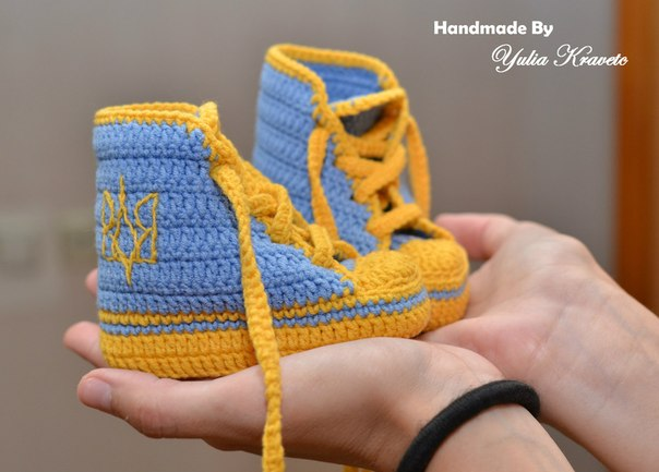 Вязаные пинетки кеды adidas