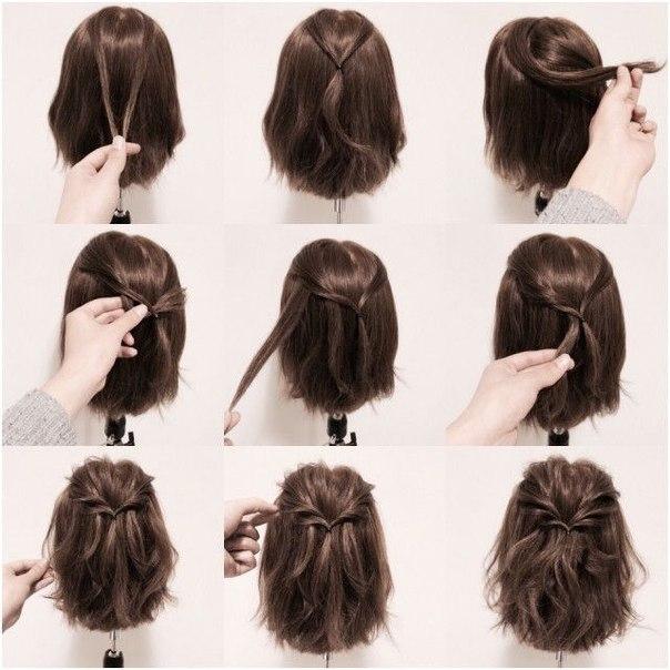 Простая прическа на волосы средней длины.
