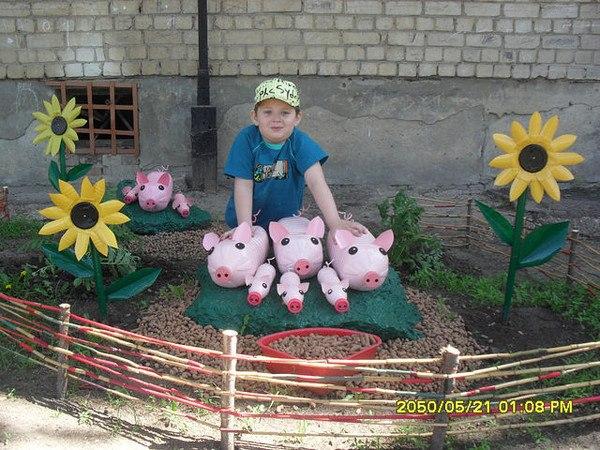 Поделки для сада своими руками фото из подручных материалов
