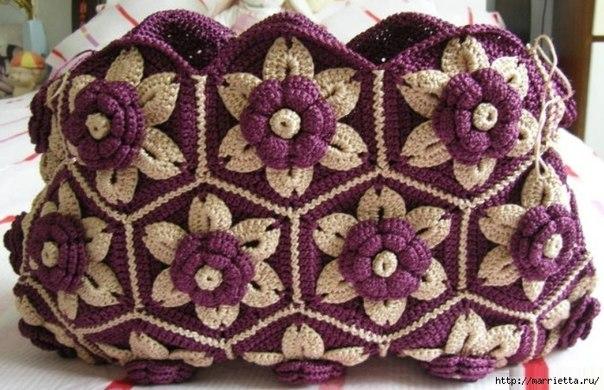 Delicadezas en crochet gabriela bolso realizado con - Mantas de ganchillo paso a paso ...
