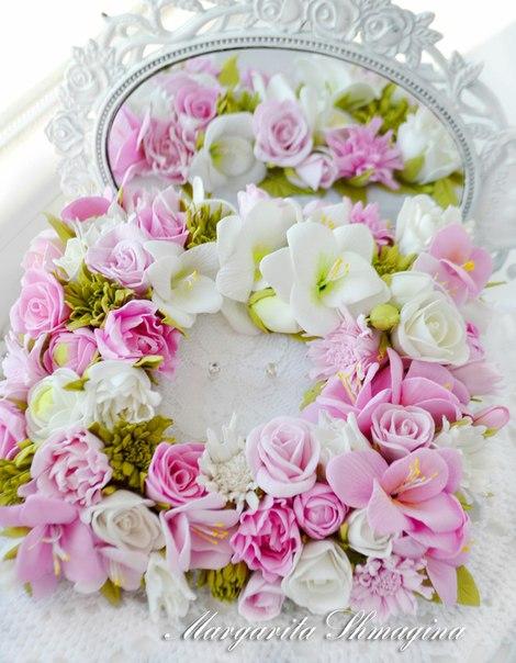 Подушечка для обручальных колец с цветами из фоамирана…. (4 фото) - картинка